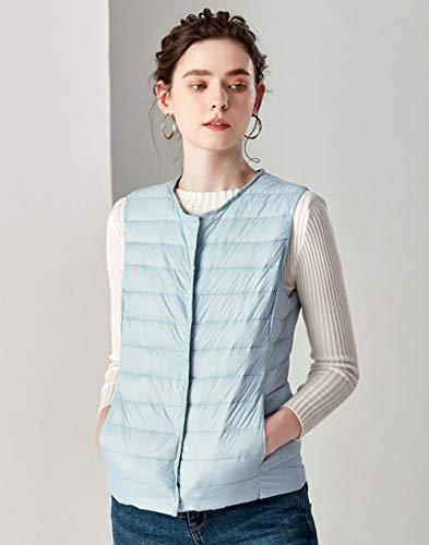 BAONUANY Down Vest Voor Vrouwen, Lichtblauw Causal Vrouwen Witte Eend Down Vest Ultra Light Vest Jacket Winter Weightless Ronde Kraag Mouwloze Jas