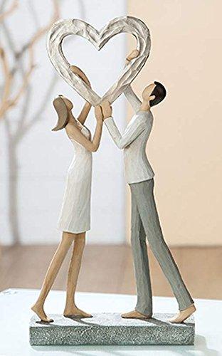 Gilde Poly Chaussures Herz Triumph Blanc/Gris/Argent Antik L = 6,5 x 6,5 x H = 32 cm