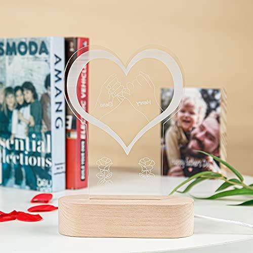 Jewelora Luz de noche personalizada 2/3/4 Nombres grabados al lado de la lámpara de mesa Escritorio LED Decoración del hogar Regalo para pareja Amante Padre Madre Amigos Hombres Mujeres (#2)