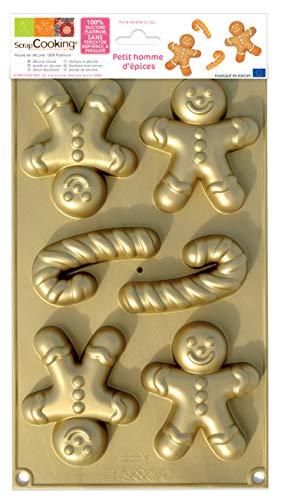 SCRAP COOKING Scrapcooking 3140 Petit Homme d'épices Moule Silicone Or 34,5 x 18 x 2,5 cm, Noel