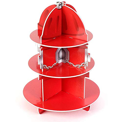 """Kidsco Red Fire Hydrant Cupcake Stand Holder 3 Tier, 5 3/4"""" X 11"""", 1 Hydrant Per Order - Table Decorations for Firefighter, Fire Rescue Themed Birthday, Halloween, Party"""