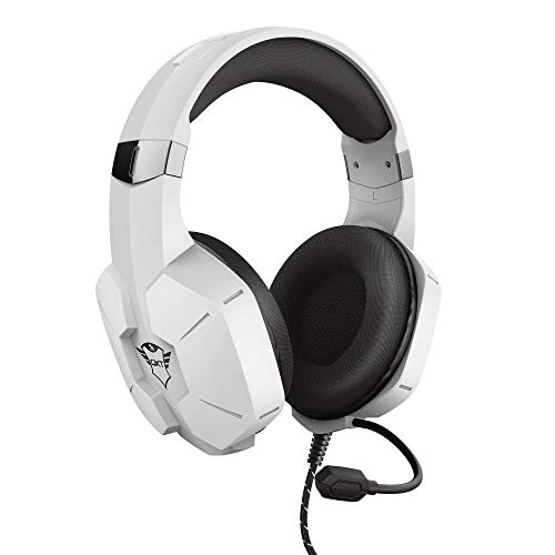 Trust Gaming Cascos PS4 & PS5 GXT 323W Carus Auriculares Gamer con Micrófono Flexible, Cable de 1.2 m, para Playstation 4 & 5 - Blanco