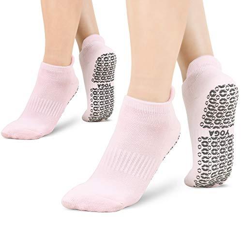 Yoga Socken für Damen rutschfest,2 Paar, Ideal für Yoga Pilates, Ballett,Tanz,Barre,Fitness, Barfuß-Training, Trampolin (Rosa)