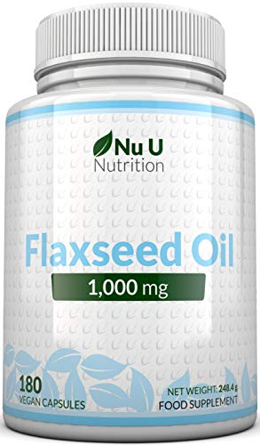Flaxseed Oil 1000 mg Vegan | 180 Cold Pressed Vegan Soft Gel Capsules - 3 Month's Supply | Rich in Omegas 3, 6 & 9 | Made in The UK by Nu U Nutrition