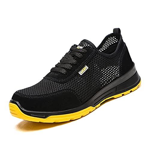 Aingrirn Zapatos de Seguridad Hombre Mujer, Puntera de Plástico Zapatos Ligero Zapatos de Trabajo Respirable Antistatic Construcción Zapatos
