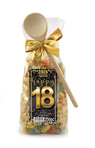 Pasta Präsent Happy 18 mit bunten Zahl-Nudeln handgefertigt in deutscher Manufaktur