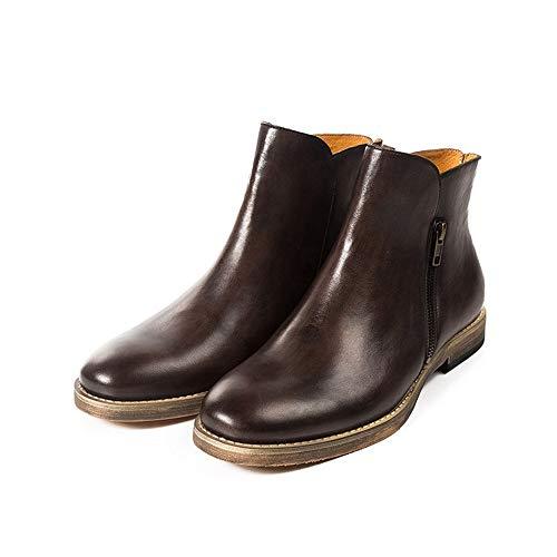 SMSZ handgemaakte mannen Chelsea laarzen Retro Europese en Amerikaanse werkkleding laarzen mode lederen heren laarzen nonchalant (kleur: zwart, Maat : 7-UK)