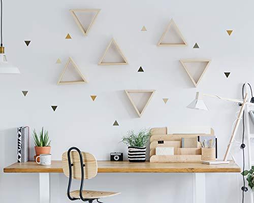 Pegatinas y Vinilos para Decoración de Pared | Triángulos | Adhesivos Decorativos Infantil | Formas Geométricas | 56uds | Rosa, Azul, Mostaza (Mostaza)