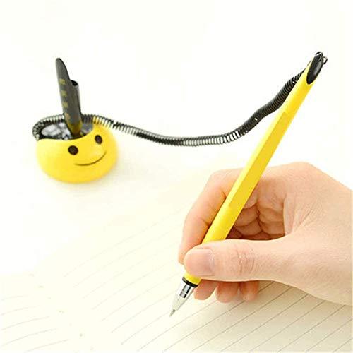 LDDZAU Bolígrafo de Gel, con Base, 4,5 cm, 17 cm, una Caja de bolígrafo de Gel de Escritorio Smile Face, bolígrafo con Base Adhesiva, Amarillo, Color Claro y Hermosa E