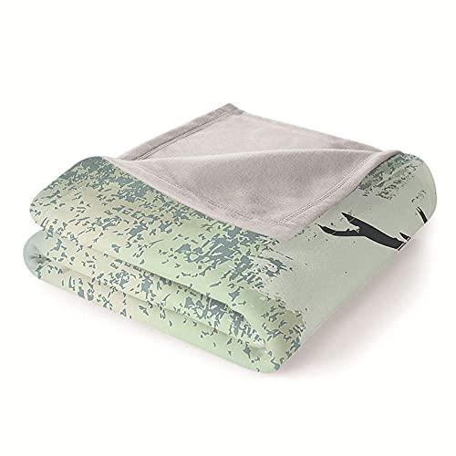 Mantas para Sofa Batamanta Mujer de Franela y Sherpa Manta Bebe Sofa Mantas con Estampados para la Cama y el Sofá 130x150 cm Alce Animal