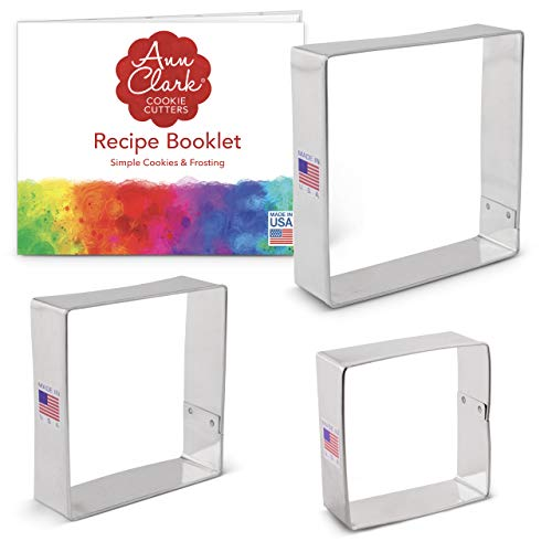 Ann Clark Cookie Cutters 3-Piece Square Cookie Cutter Set with Recipe Booklet, 2.5', 3', 3.5'