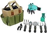 Garden Tool Set   Garden Tools Kit   Gardening Gloves   9 Piece Garden Tool Set   Digging Claw Gardening Gloves Gardening Gifts Tool Set   Planting Tools   Gardening Supplies Basket   Rake Gloves