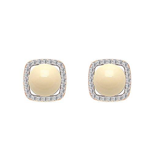 Pendientes de perlas cultivadas japonesas con halo cuadrado de diamante, orotornillo hacia atrás