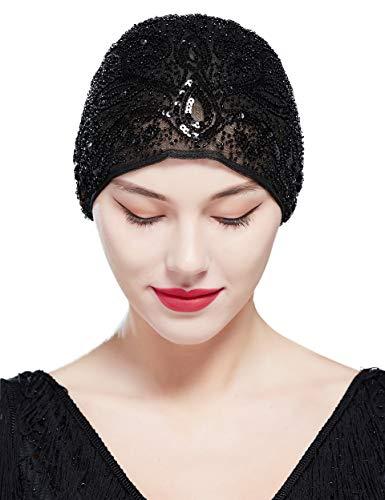 Coucoland Dames Turban hoed 1920s haarband gaas hoofddoek dames exotisch carnaval kostuum accessoires