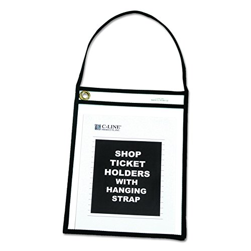 """C-Line Shop Ticket Holders with Straps, Stitched, Black, Both Sides Clear, 9"""" x 12"""", Box of 15 (41922)"""