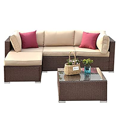 5 Piece Outdoor Patio Furniture Set, All Weather Brown PE Wicker Sectional Sofa Set Rattan Conversation Set with Glass Table and Removable Cushions, Beige