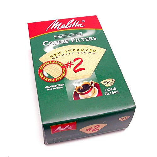 Melitta 622752 #2 Natural Brown Cone Coffee Filters 100 Count (2pack)