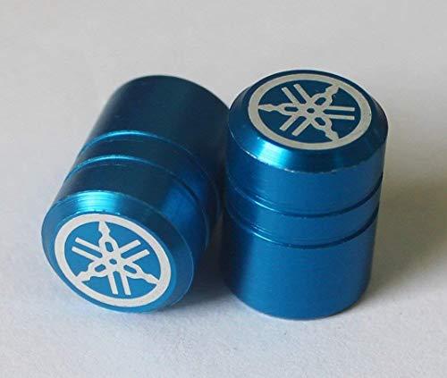 Yamaha 2er Set Original Stimmgabel Einfarbig Blau Reifen Ventil Staubkappen für Motorräder Fahrräder, ATV Auto