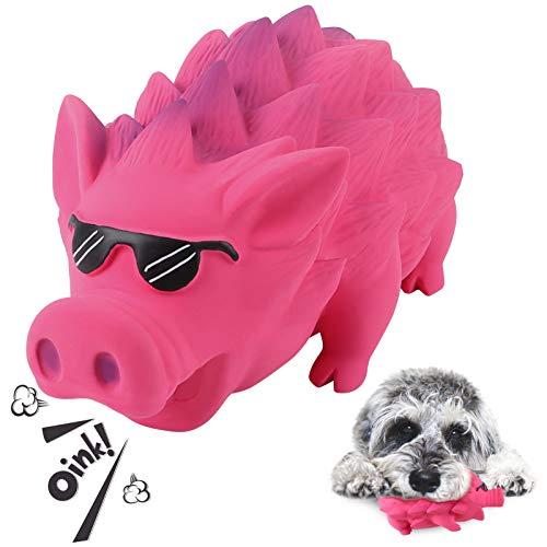 G.C Hund Kauspielzeug Quietschspielzeug unzerstörbares Hunde Schwein Spielzeug Natürliches Gummi Zahnbürste für Mittelgroße Große Hündchen (Rot, Sonnenbrille)