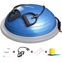 PROIRON Balance Trainer Half Ball Fitness Ø 60cm Pesa 5 kg Soportar 300 kg con Bomba de pie, Bandas de Resistencia y Manual de Entrenamiento (Azul)