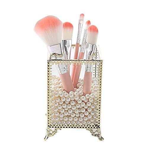 LITINGT Cosmetic Storage Box Cosmetic Brush Bucket Dresser Finishing Makeup Organizer Eyebrow Pencil Lipstick Storage Box (Color : Black)