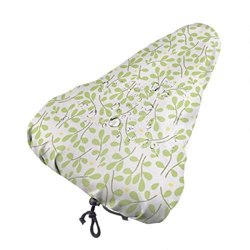 Enoqunt Grüne Blätter Gelbe Punkte.JPEG Wasserdichter Fahrradsitz-Regenschutz mit Kordelzug, Regen- und staubdicht