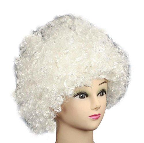 HAAC - Parrucca afro per carnevale, colore: Bianco