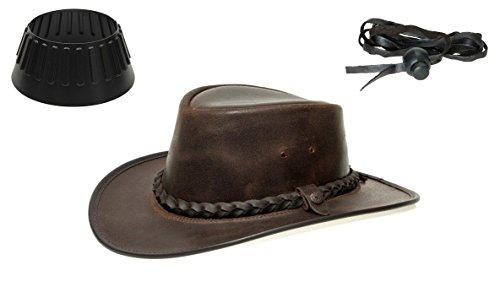 BC BacPac Traveller Hat - Australien Outback Edition - Brown Steerhide - XL 59-60 + Hutablage & Kinnriemchen