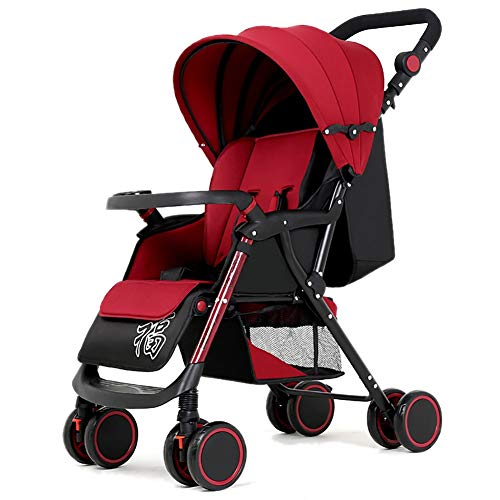 Poussettes JCOCO Baby, Suspension pour bébé léger Pliable 4 Roues Suspendu Nouveau-né Chariot Poussoir réglable en Hauteur (Couleur : Red)