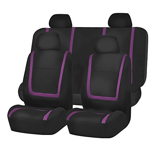 FH Group FB032PURPLE114 Purple Unique Flat Cloth Car Seat Cover (w. 4 Detachable Headrests and Solid Bench)