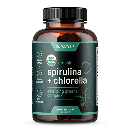 USDA Organic Chlorella Spirulina Capsules - Green Superfoods for Heart Support, Natural Energy & Glucose Control - Plant Vitamins & Powerful Antioxidants (120 Capsules)