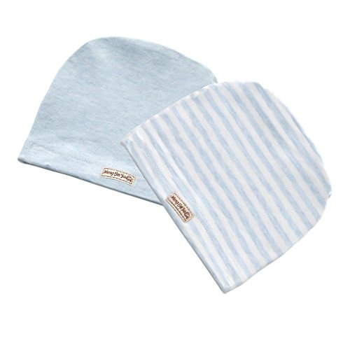 MMBABY 2 Packs of Infant Toddler Baby Unisex 100% Cotton Soft Cute Lovely Newborn Kids Hat Beanies Caps (0-3 Months, M-Blue-BB0012)