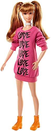 Barbie- Fashionistas Bambola con Le Trecce in Un Abito Maglione Rosa, Multicolore, FJF44