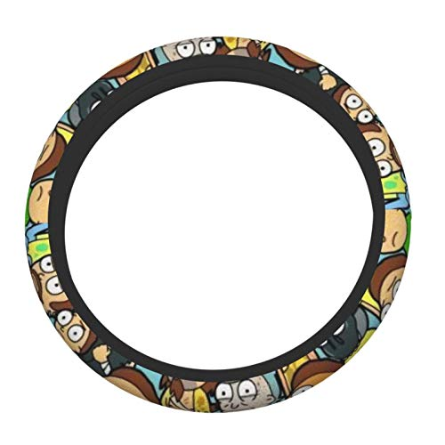 Heavenly Battle Anime Rick Morty Steering Wheel Cover Universal 15 inch Anti-Slip Elasticity Steering Wheel Covers Car Accessories Steering Wheel Protector for Women Men