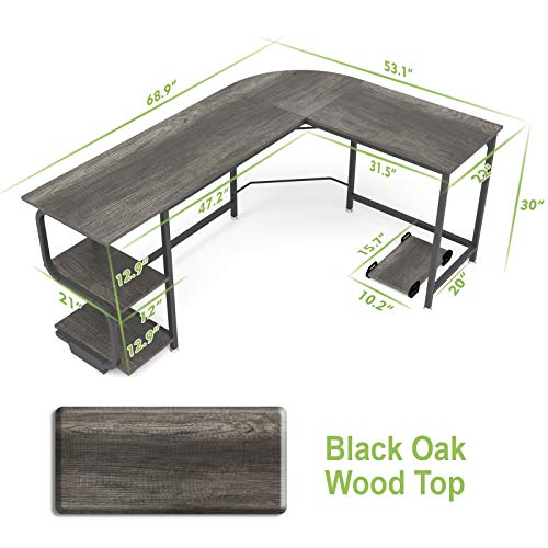 Teraves wendbarer L-förmiger Schreibtisch mit Regalböden, runde Ecken, Computertisch, Gaming-Tisch für Home Office