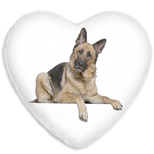 German Shepherd Cute Dog Faux Silk Heart Shaped Sofa Cushion