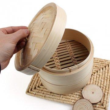 2 Tier Bamboe Steamer Dim Sum Mand Rijst Pasta Cooker