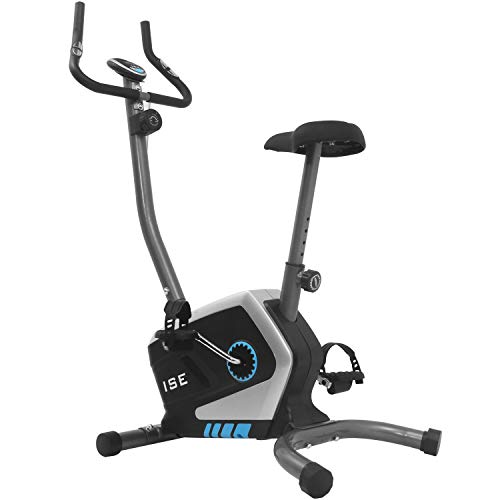 ISE Cyclette Magnetica Fitness,8 kg Massa d'Inerzia,Sensori delle Pulsazioni Integrati,Schermo LCD,8 Livelli di Resistenza,Supersilenzioso,Peso Utente Fino a 120 kg,SY-8801