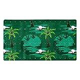 Ameolone Palm Tree Green - Alfombrillas de ducha con agarre superior y drenaje para suelos de baldosas