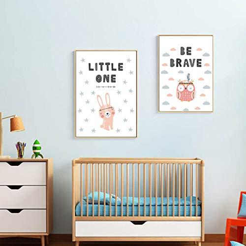 SDFSD Cartoon süße süße Tiere Kaninchen Eule Zitate Wandkunst Drucke Kinderzimmer Leinwand Gemälde Geschenk Poster Bilder Kinderzimmer Wohnkultur 40 * 50cm