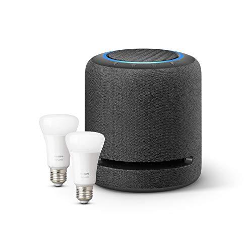 Echo Studio + Philips Hue White Kit avec 2 ampoules LED connectées (E27), compatibles avec Bluetooth et Zigbee (aucun hub requis)