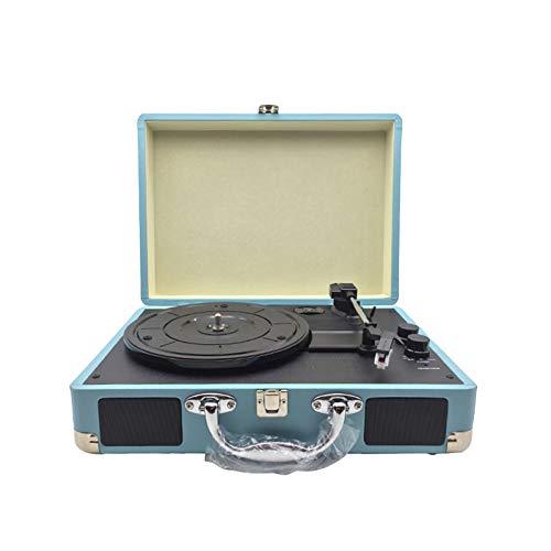DUTUI Tragbarer Retro-Phonograph, Schallplattenspieler, Plattenspieler, Schallplatte, Karte Können Mit Bluetooth-Lautsprecher Verbunden Werden,Schwarz