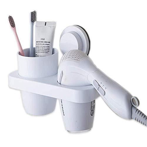 Unishop Estante de Baño para Cepillos y Secador de Pelo, Organizador con Ventosa para Pared, Soporte Pequeño sin Perforaciones