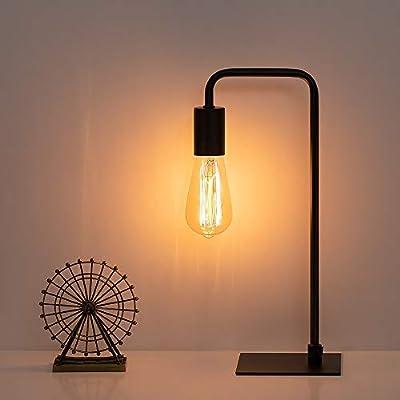 Industrial Desk Lamp, Nightstand Lamp Square Base Table Lamp Vintage Bedside lamp for Living Room Bedroom Bedside Office,Black (Bulb No Included)