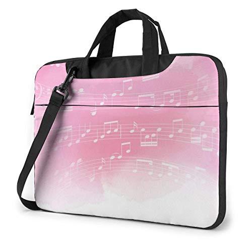 15.6″Lightweight Laptop Notebook Shoulder Backpack Bag Pink Music Notes Waterproof PC Briefcase Messenger with Strap