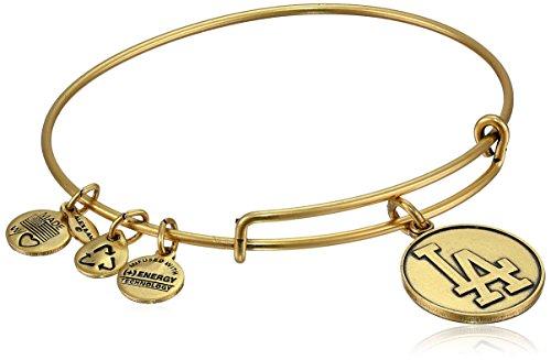"Alex and Ani ""Major League Baseball"" Dodgers Cap Logo Rafaelian Gold-Tone Expandable Bangle Bracelet"