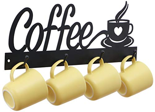 ANNYHOME Metal Coffee Mug Holder Wall Mounted  Hanging Coffee Cup Racks for Wall with 4 Hooks Coffee Signs for Coffee Bar Kitchen or Cafe Decor Perfect for Coffee Mug Hangers Display and Organizer