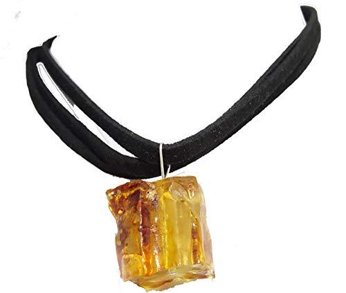 Ciondolo di ambra naturale in grezzo e argento