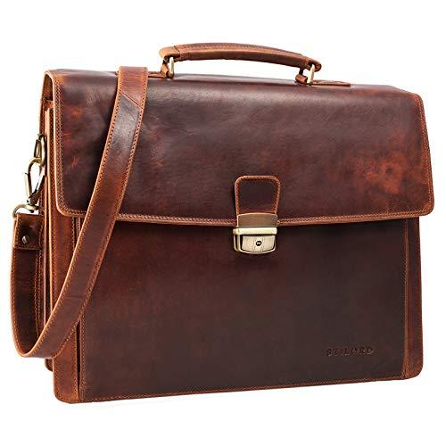 STILORD 'Noel' Aktentasche Leder Herren Vintage groß Klassische Arbeitstasche Bürotasche Umhängetasche Dokumententasche mit Laptopfach 13,3 Zoll und Trolleyschlaufe, Farbe:Kara - Cognac