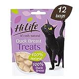 HiLife - 12 bolsas de snacks Its Only Natural de pechuga de pato para gatos (12 x 10g) (Variado)